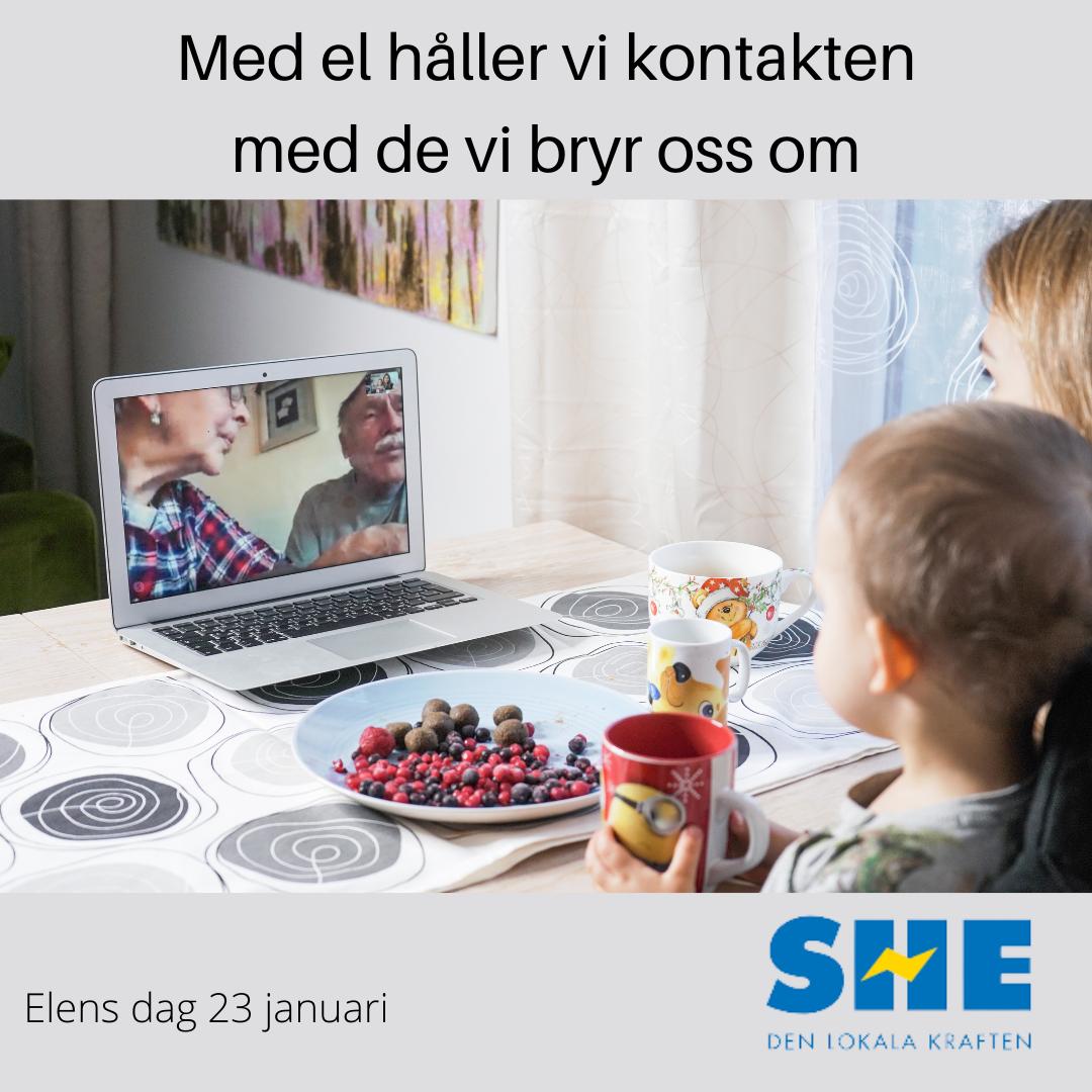"""Barn som talar med """"mormor o morfar"""" via datorn. Med el håller vi kontakten med de vi bryr oss om. elens dag 23 januari"""